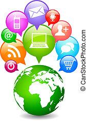 planet, medier, vektor, sociale