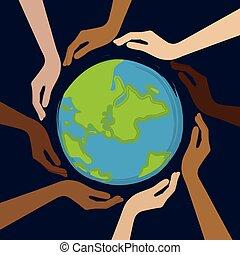 planet, menneske, farver, hud, midte, forskellige, hænder, jord