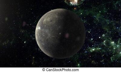 Planet Mercury - An orbiting shot of planet Mercury in...
