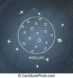Planet Mercury icon on chalkboard
