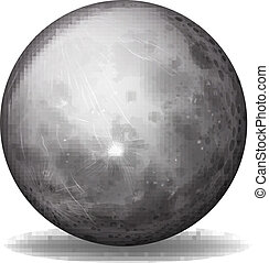 Illustration of planet Mercury on a white background