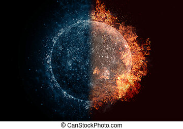 Planet Mercury in water and fire. Concept sci-fi artwork.