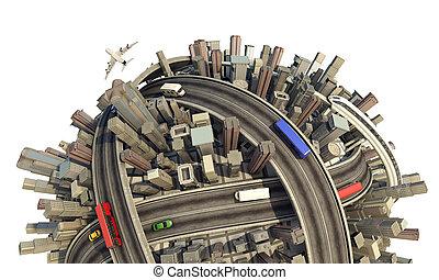 planet, miniatyr, närbild, begrepp, urban