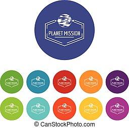 Planet mission icons set vector color