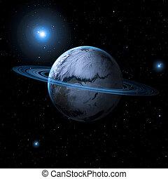 planet, mit, asteroid, ringe, in, der, hintergrund, von, raum