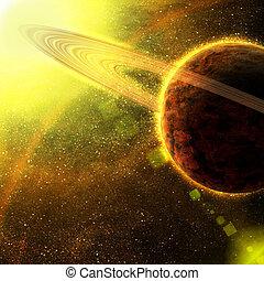 planet, mit, asteroid, ringe, in, raum