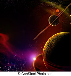 planet, mit, sonnenaufgang