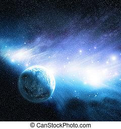 Planet & Nebula - A planet near a Nebula with new star ...