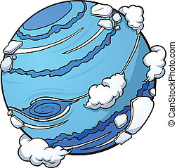 Planet Neptune - Cartoon planet Neptune. Vector clip art...