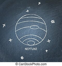 Planet Neptune icon on chalkboard
