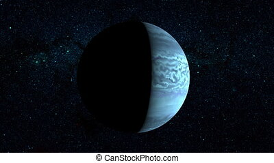 Planet Neptune on a beautiful starry background, orbiting...
