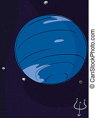 Planet Neptune - The planet Neptune with four of its largest...