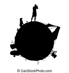 little planet for a backpacker taking a picture on his camera, with his dog, bags, tent, chair laid on the grass; symbol of a traveller's world