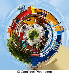 Planet of Colorful buildings in italian street