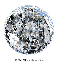 Globe with reflection of high technologies abstraction.
