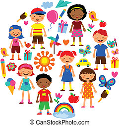 illustration with planet earth, happy children and colorful flowers