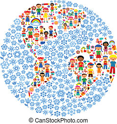 planet of kids, colorful vector illustration - illustration...