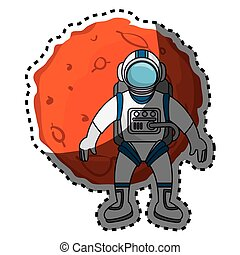 Planet of the solar system with astronaut