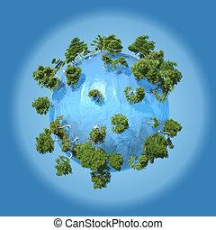 Small planet of water with mangroves