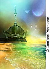 Futuristic seascape on another world.