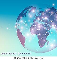planet., plexus., 3次元である, 微片, 混沌としている, コミュニケーション, 抽象的, 世界的である, ライン, 事実上, ∥あるいは∥, ネットワーク, 接続, ベクトル, compounds., 背景, minimalistic, デザイン, illustration.