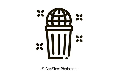 planet pollution Icon Animation. black planet pollution animated icon on white background