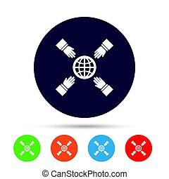 planet., portée, signe, mains, la terre, icon., sauver
