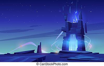 planet., portale, cima, montagna, straniero, o, magia
