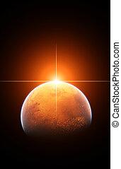 planet, röd, mars