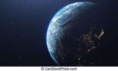 planet, render, raum, 3d, erde, angesehen