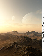 Planet Rise - Science fiction illustration of planets rising...