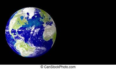 Planet rotates on a black backgroun