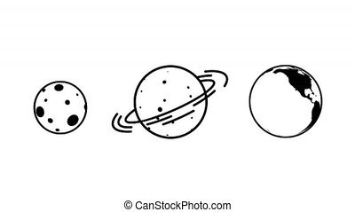 Planet rotating icon like earth moon saturn. Looped ...