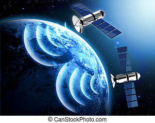 planet, satellit, erde, blaues