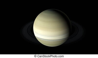 Planet Saturn from the dark and illuminated sides, computer ...