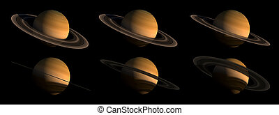 Planet Saturn Illustration Set