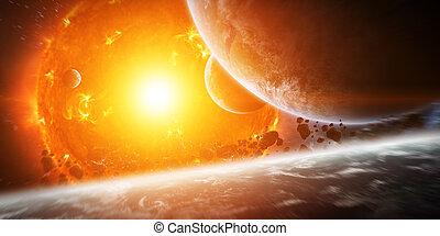 planet, sonne, explodieren, schließen, raum