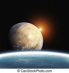 planet, sonne, steigend, wüste, erde