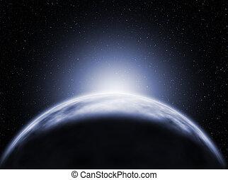 planet, sonnenaufgang, ansicht, eis, raum
