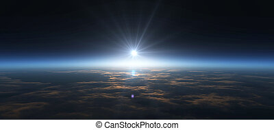 planet, sonnenaufgang, raum