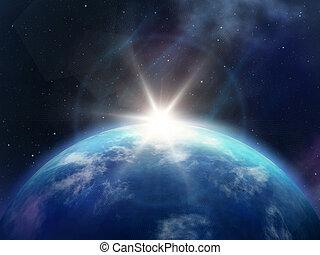 planet, sonnenaufgang