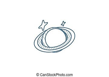 Planet, Space, Astronomy isometric icon. 3d line art technical drawing. Editable stroke vector