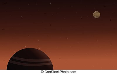 Planet space on brown background landscape