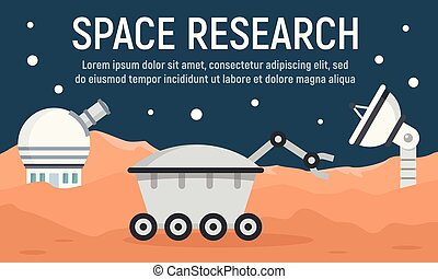 Planet space research concept banner, flat style