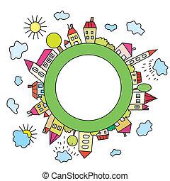 planet, stadt, kindisch, karikatur