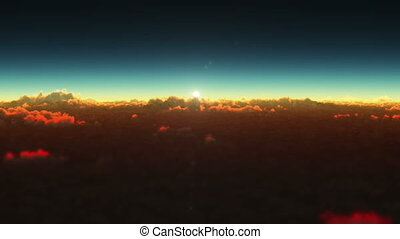 planet sunrise above clouds
