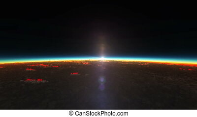 planet sunrise from space