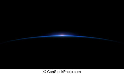 Sun Rising on planet horizon; and the sun rises it becomes brighter until the screen turns white.