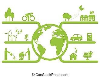 planet, symboler, grön