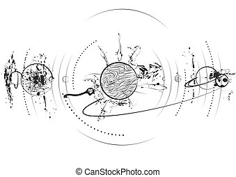 planet system in black